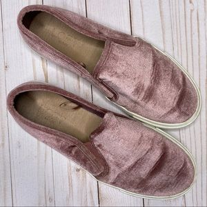 LOFT blush pink velvet slip on sneakers